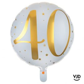 Ballon aluminium 45 cm blanc et or effet métallisé 40 ans