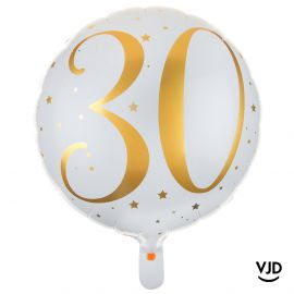 Ballon aluminium 45 cm blanc et or effet métallisé 30 ans