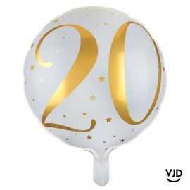 Ballon aluminium 45 cm blanc et or effet métallisé 20 ans