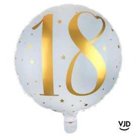 Ballon aluminium 45 cm blanc et or effet métallisé 18 ans