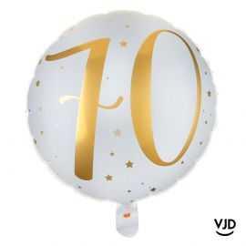 Ballon aluminium 45 cm blanc et or effet métallisé 70 ans