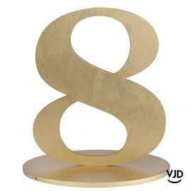 Décoration table or chiffre 8 avec socle sur bois 17 cm