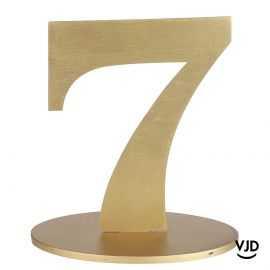 Décoration table or chiffre 7 avec socle sur bois 17 cm