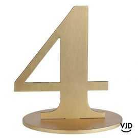 Décoration table or chiffre 4 avec socle sur bois 17 cm