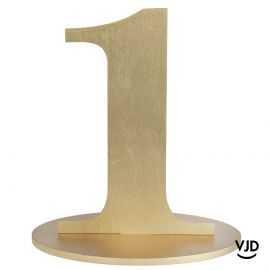 Décoration table or chiffre 1 avec socle sur bois 17 cm