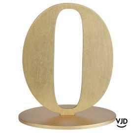 Décoration table or chiffre 0 avec socle sur bois 17 cm
