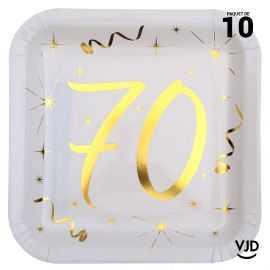 10 assiettes carton carré anniversaire or métallisé 70 ans. 23 x 23 cm