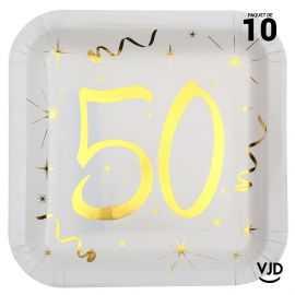 10 assiettes carton carré anniversaire or métallisé 50 ans. 23 x 23 cm