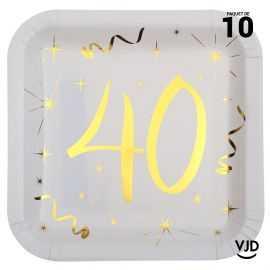 10 assiettes carton carré anniversaire or métallisé 40 ans. 23 x 23 cm