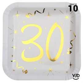 10 assiettes carton carré anniversaire or métallisé 30 ans. 23 x 23 cm