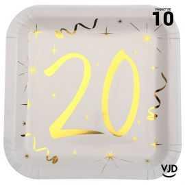 10 assiettes carton carré anniversaire or métallisé 20 ans. 23 x 23 cm