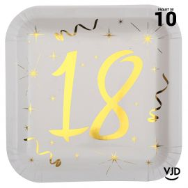 10 assiettes carton carré anniversaire or métallisé 18 ans. 23 x 23 cm