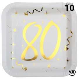 10 assiettes carton carré anniversaire or métallisé 80 ans. 23 x 23 cm