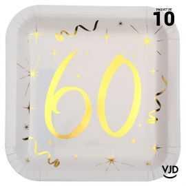 10 assiettes carton carré anniversaire or métallisé 60 ans. 23 x 23 cm