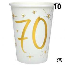 10 gobelets carton blanc et or métallisé 70 ans. 25 cl