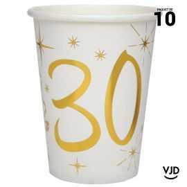10 gobelets carton blanc et or métallisé 30 ans. 25 cl.