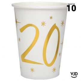 10 gobelets carton blanc et or métallisé 20 ans. 25 cl.