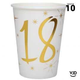 10 gobelets carton blanc et or métallisé 18 ans. 25 cl.