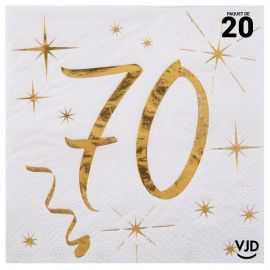 20 petites serviettes blanches et or métallisés 70 ans. 25 cm x 25 cm