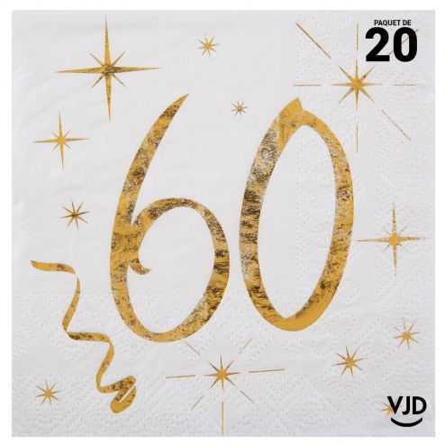 20 petites serviettes blanches et or métallisés 60 ans. 25 cm x 25 cm