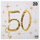 20 petites serviettes blanches et or métallisés 50 ans. 25 cm x 25 cm