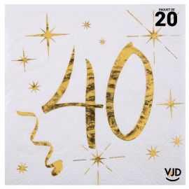 20 petites serviettes blanches et or métallisés 40 ans. 25 cm x 25 cm