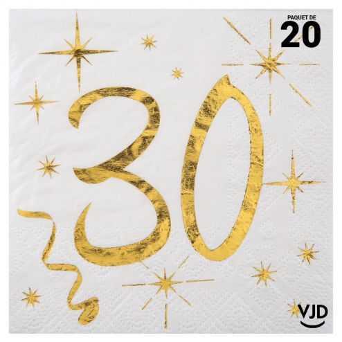 20 petites serviettes blanches et or métallisés 30 ans. 25 cm x 25 cm