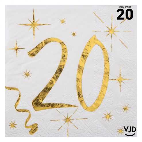 20 petites serviettes blanches et or métallisés 20 ans. 25 cm x 25 cm