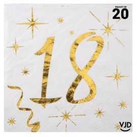 20 petites serviettes blanches et or métallisés 18 ans. 25 cm x 25 cm