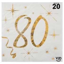 20 petites serviettes blanches et or métallisés 80 ans. 25 cm x 25 cm