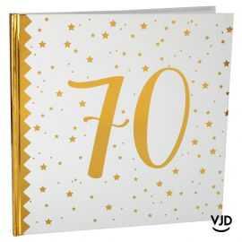 Livre d'or blanc et or effet métallisé 70 ans. 24 cm x 24 cm