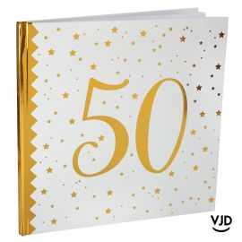 Livre d'or blanc et or effet métallisé 50 ans. 24 cm x 24 cm