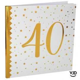 Livre d'or blanc et or effet métallisé 40 ans. 24 cm x 24 cm