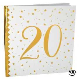 Livre d'or blanc et or effet métallisé 20 ans. 24 cm x 24 cm