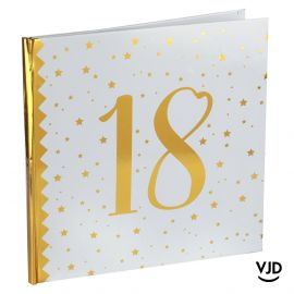 Livre d'or blanc et or effet métallisé 18 ans. 24 cm x 24 cm