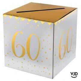 Tirelire carton blanche et or métallisé 60 ans