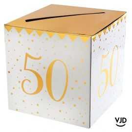 Tirelire carton blanche et or métallisé 50 ans