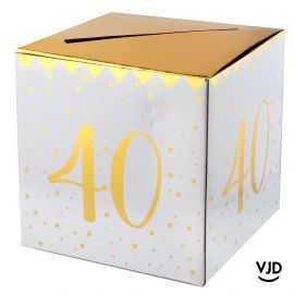 Tirelire carton blanche et or métallisé 40 ans