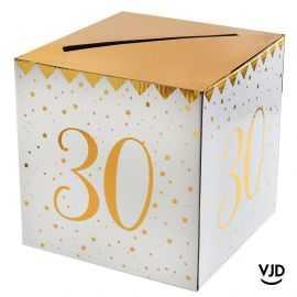 Tirelire carton blanche et or métallisé 30 ans