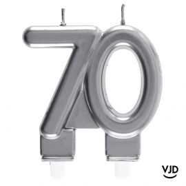 Bougie double âge argent 70 ans