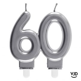 Bougie double âge argent 60 ans