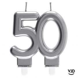 Bougie double âge argent 50 ans