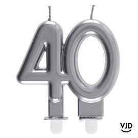 Bougie double âge argent 40 ans