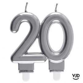 Bougie double âge argent 20 ans