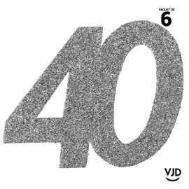 6 confettis anniversaire 40 ans argent pailleté 5 cm