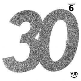 6 confettis anniversaire 30 ans argent pailleté 5 cm