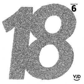 6 confettis anniversaire 18 ans argent pailleté 5 cm