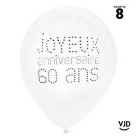 8 ballons blanc et noir joyeux anniversaire 60 ans. 23 cm