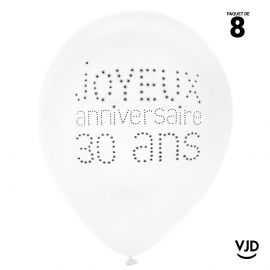 8 ballons blanc et noir joyeux anniversaire 30 ans. 23 cm