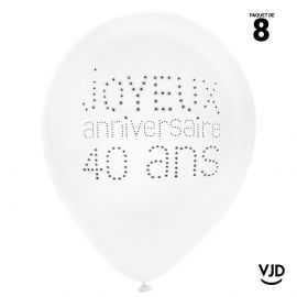 8 ballons blanc et noir joyeux anniversaire 40 ans. 23 cm